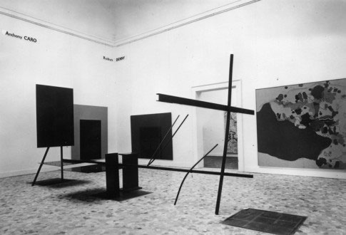 Detail of the British Pavilion at the 1966 Venice Biennial, showing Cohen's painting on the right. Courtesy Harold Cohen's archive.