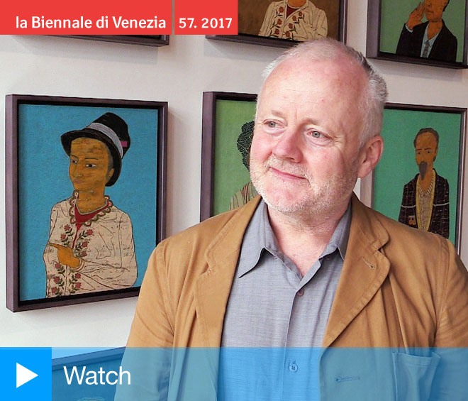 Stephen Chambers talking to Studio International at the opening of The Court of Redonda, Venice, 2017. Photograph: Martin Kennedy.
