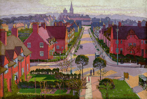 William Ratcliffe. <em>Hampstead Garden Suburb from Willifield Way,</em> c. 1914. Oil on canvas, &nbsp;510 x 763 mm. Tate Presented by Tate Members 2006. &copy; The estate of William Ratcliffe