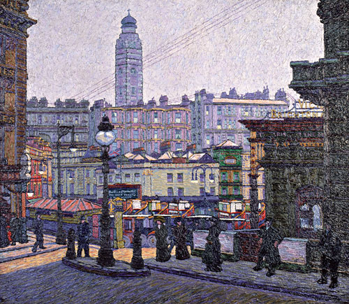 Charles Ginner. The Sunlit Square, Victoria Station, 1913. Oil on canvas,  870 x 100 x 780 mm. Atkinson Art Gallery, Southport, Sefton M.B.C. © The estate of Charles Ginner