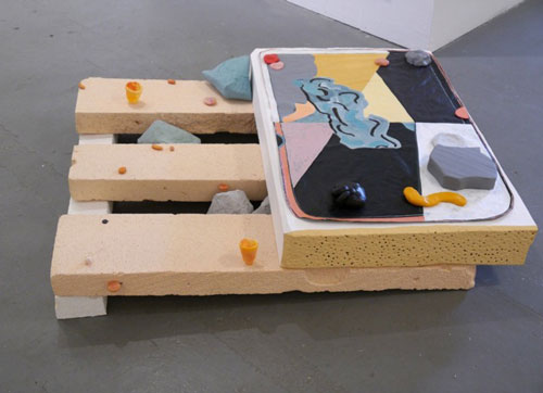 Jennifer Campbell. Cat Nap, 2015. Acrylic on plastic and foam-board with mixed media, 23 x 102 x 91 cm.