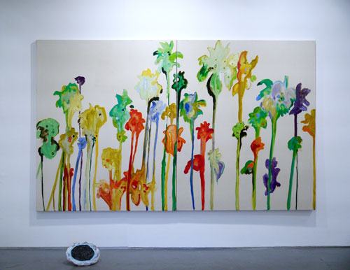 Chloë Manasseh. A tree falls the way it leans. Be careful which way you lean, 2015. Oil on canvas, 168 x 137 cm (66 x 54 in); floor piece, Jennifer Campbell, Pool. Acrylic on mixed media.