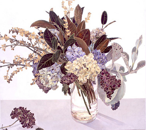 Cressida Campbell,<i> Hydrangeas with Magnolia leaves</i>, 2005. Picture 