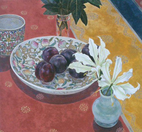 Cressida Campbell,<i> Plums with Indian Cloth</i>, 2004. Picture credit: 