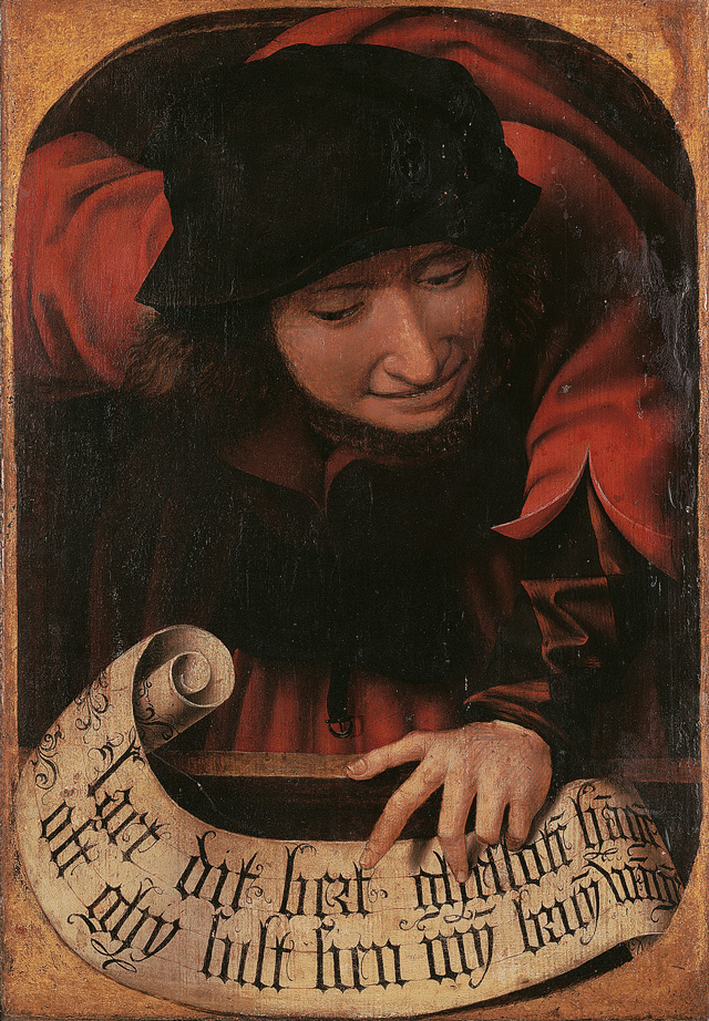Anonymous, Flemish. Satirical Diptych, 1520-30 (detail). (Leave this panel closed, otherwise you will be angry with me.)