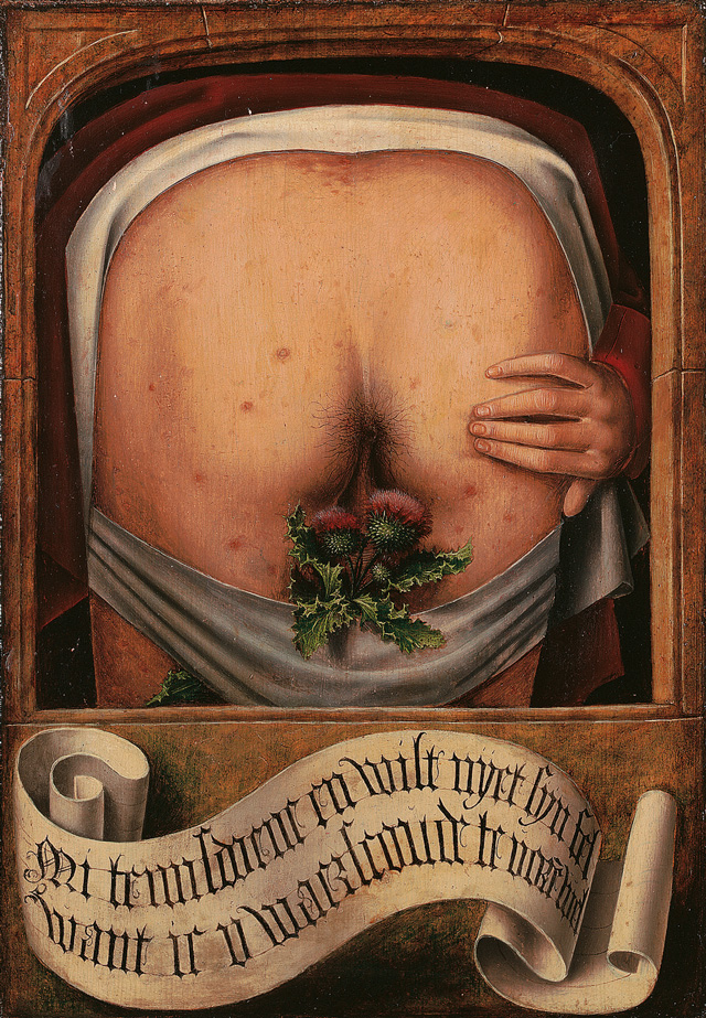Anonymous, Flemish. Satirical Diptych, 1520-30 (detail). (It is not my fault because I warned you.)