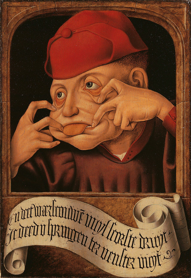 Anonymous, Flemish. Satirical Diptych, 1520-30 (detail). (And we want to give you warning, or you'll want to jump out the window.)