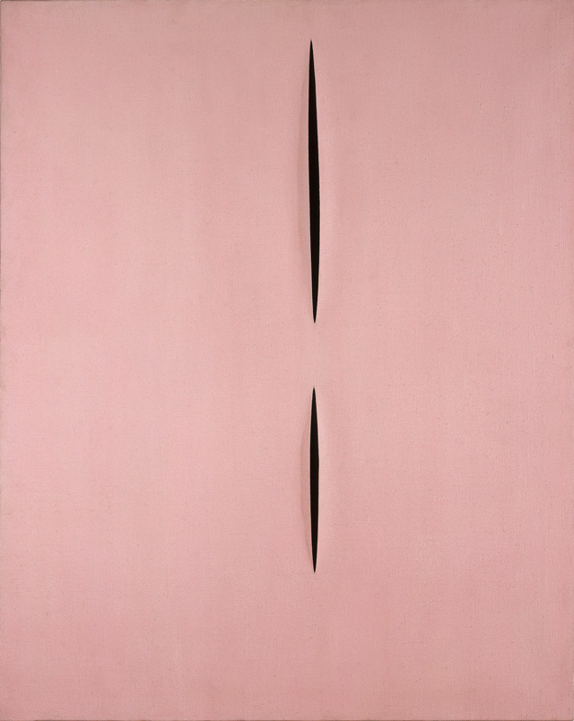 Lucio Fontana. Concetto spaziale Attese (T.104). Concept spatial, attentes, 1958. Acrylic paint on canvas, incisions, 125 x 100 cm. Paris, Centre Pompidou, musée national d'Art moderne / Centre de création industrielle, don de Mme Teresita Fontana en 1979