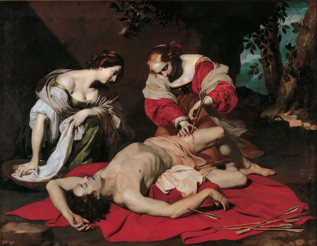 Nicolas Régnier. Saint Sebastian tended by the Holy Irene and her Servant, about 1626-30. Oil on canvas, 171.5 × 219.4 cm. © Ferens Art Gallery, Hull Museums.