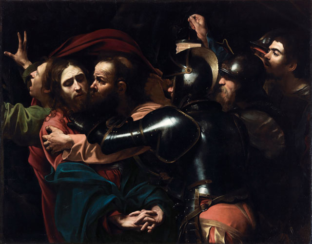 Michelangelo Merisi da Caravaggio. The Taking of Christ, 1602, Oil on canvas, 133.5 x 169.5 cm. On indefinite loan to the National Gallery of Ireland from the Jesuit Community, Leeson St., Dublin who acknowledge the kind generosity of the late Dr Marie Lea-Wilson. Photograph © The National Gallery of Ireland, Dublin.