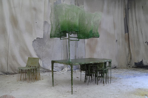 Nacho Carbonell. Archival Table, 2014. Metal structure, metal mesh, few spray layers of textile hardener, paper, pigments and yuta, table 246 x 108 x 200 cm; chair 83 x 72 x 60 cm. Photograph: Tathiana Uzlova.
