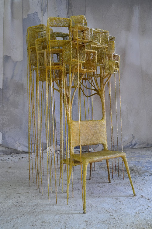 Nacho Carbonell. Source Chair, 2014. Metal structure, metal mesh, few spray layers of textile hardener, paper, pigments and yuta, 239 x 207 x 169 cm. Photograph: Tathiana Uzlova.