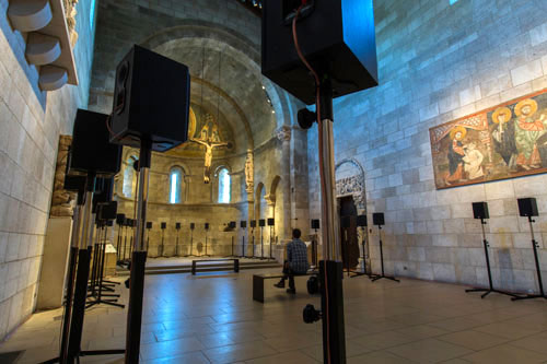 Janet Cardiff. The Forty Part Motet, 2001. View 2. Fuentidueña Chapel at The Cloisters museum and gardens. Image: The Metropolitan Museum of Art/Wilson Santiago.