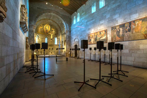 Janet Cardiff. The Forty Part Motet, 2001. View 4. Fuentidueña Chapel at The Cloisters museum and gardens. Image: The Metropolitan Museum of Art/Wilson Santiago.
