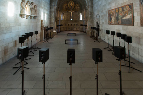 Janet Cardiff. The Forty Part Motet, 2001. View 5. Fuentidueña Chapel at The Cloisters museum and gardens. Image: The Metropolitan Museum of Art/Wilson Santiago.