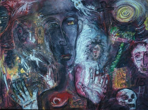 <em>Spirit Voices</em>, 1994. 48x36 inches. Acrylic and oil on canvas - mounted on masonite &copy; Carlos Ortiz