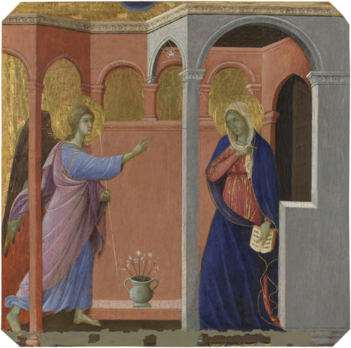 Duccio. The Annunciation, 1307/8-11. Egg tempera on wood, 44.5 x 45.8 cm. The National Gallery, London. © The National Gallery, London.
