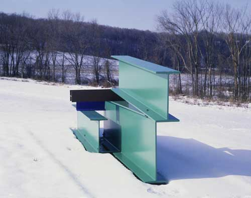 Anthony Caro (b. 1924), Sculpture Seven 1961. Steel, painted green, blue and brown 178 x 537 x 105.5 cm. Private Collection. Copyright: The artist, Barford Sculptures Ltd