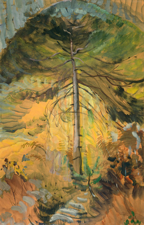 Emily Carr. Happiness, 1939. Oil on paper, 84.8 x 54 cm. University of Victoria Art Collection, Gift of Nikolai and Myfanwy Pavelic.