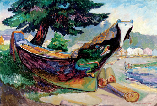 Emily Carr. Indian War Canoe (Alert Bay), 1912. Oil on cardboard, 65 x 95,5 cm. The Montreal Museum of Fine Arts, Purchase, gift of A. Sidney Dawes.