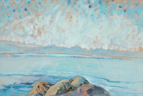 Emily Carr. Untitled (Seascape), 1935. Oil on paper mounted on board, 26.5 x 40.5 cm, The Art Gallery of Greater Victoria.