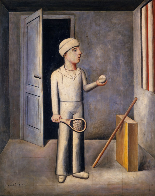 Carlo Carrà. Il figlio del costruttore, 1918–1921. Oil on canvas, 121 x 95 cm. Private collection.
