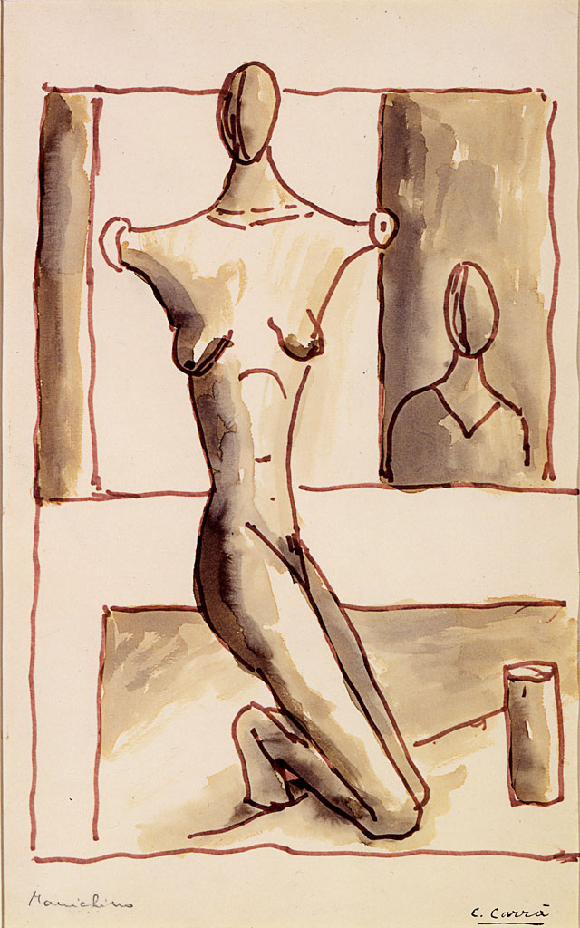 Carlo Carrà. Manichino, 1917. Ink and watercolour on paper, 39.9 x 24.7 cm. Private collection.