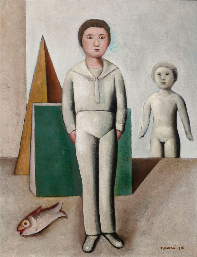 Carlo Carrà. Mio figlio, 1916. Oil on canvas, 90 x 70 cm. Private collection.