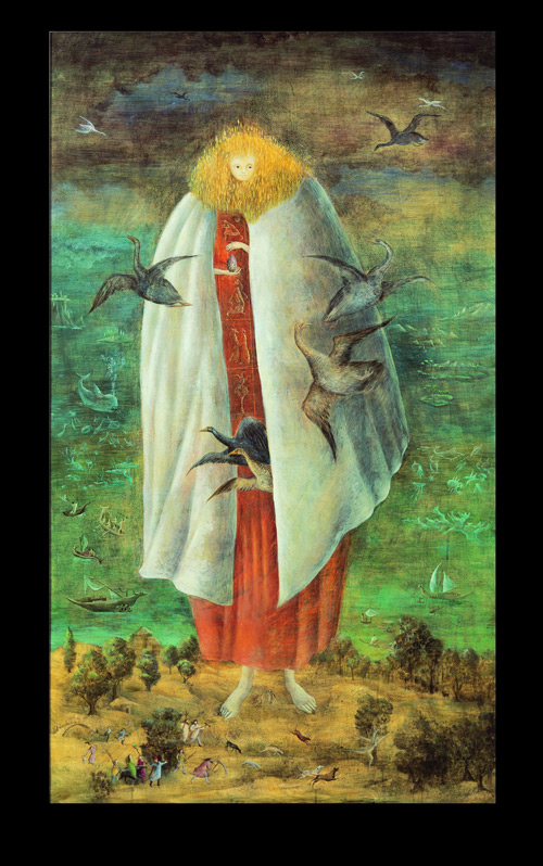 Leonora Carrington. The Giantess (The Guardian of the Egg), c1947. Tempera on wood panel, 117 x 68 cm. Collection Miguel S. Escobedo. © Estate of Leonora Carrington/ARS.