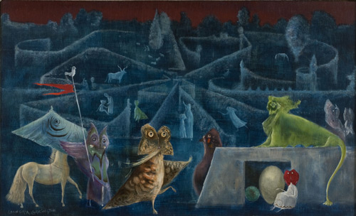 Leonora Carrington. Ulu's Pants, 1952. Oil and tempera on panel, 55 x 91 cm. Private collection. © Estate of Leonora Carrington/ARS.
