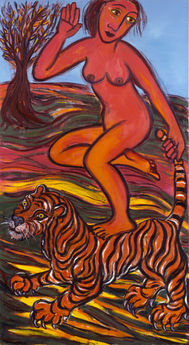 Eileen Cooper RA. Tail of the Tiger, 2002. Oil on canvas, 168 x 91 cm. Courtesy the artist. Photograph: Justin Piperger.