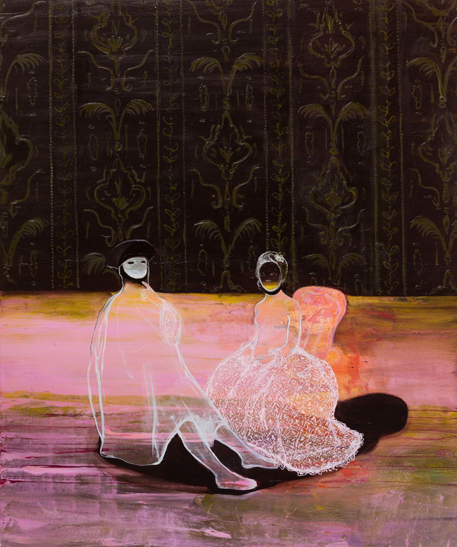 Lisa Wright RWA. After The Masked Visitor, 2015. Oil on canvas, 180 x 150 cm. Courtesy the artist. Photograph: Steve Tanner.
