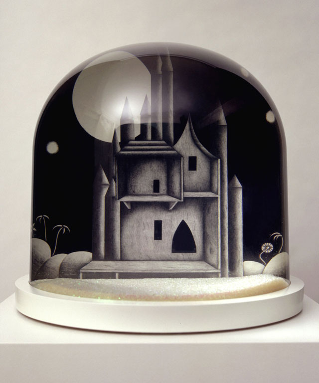 Sarah Woodfine. Castle, 2005. Pencil on paper in snow dome, 38 x 38 cm. Courtesy the artist and Danielle Arnaud.