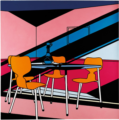 Patrick Caulfield. Café Interior: Afternoon, 1973. Acylic on canvas, 214.6 x 214.6 cm. Private collection