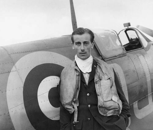 Cecil Beaton. Flying Officer Nevill Duke of No 92 (East India Squadron, A Battle of Britain pilot with his Spitfire at RAF Biggin Hill 1941). Part of Imperial War Museum's 'Ministry of Information Second World War Official Collection'.