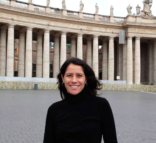 Film-maker Raquel Cecilia in front of St Peter's Basilica during production in Rome, January 2013.