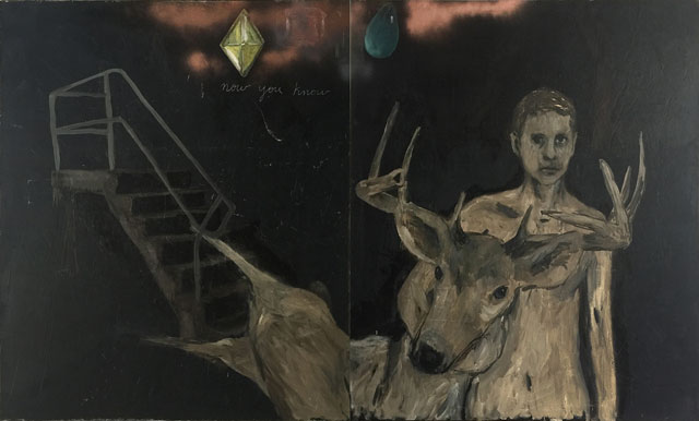 Enrique Martínez Celaya. Untitled (Boy with Deer), 2016. Oil and wax on canvas, 72 x 120 in. © Enrique Martinez Celaya. Courtesy of the artist and Jack Shainman Gallery, New York.