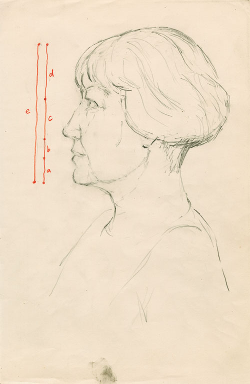 Celia Scott. <i>Study for The Painter</i>, 1984. Pencil and crayon on paper, 24 x 18 cm.
