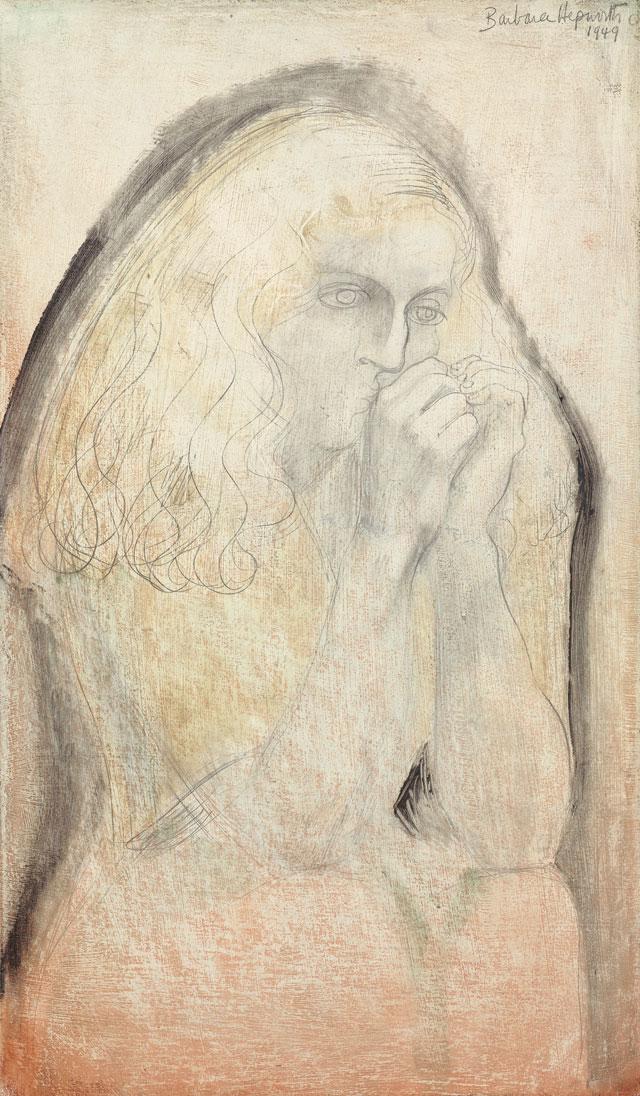 Dame Barbara Hepworth. Study for Lisa (Hands to Face), 1949. Pencil and oil on board. Jerwood Collection. © Bowness