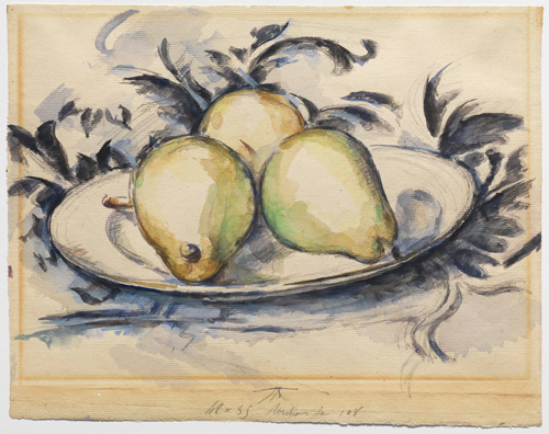 Paul Cézanne (1839–1906). Three Pears, c1888–90. Watercolour, gouache, and graphite on cream laid paper, 24.2 x 31 cm. © The Henry and Rose Pearlman Collection. Photograph: Bruce M. White.