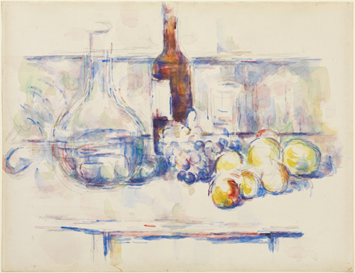 Paul Cézanne (1839–1906). Still Life with Carafe, Bottle, and Fruit, 1906. Watercolour and soft graphite on pale buff wove paper,