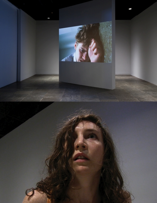 Xavier Cha. Body Drama, 2011. Installation view (3), Whitney Museum of American Art, New York. Performance with actor and body-mounted video camera; and video, colour, silent; time variable, looped. Photograph: Sheldan C. Collins.