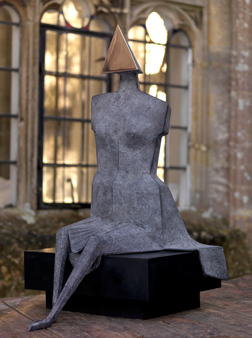 Lynn Chadwick. <em>Third Girl Sitting on Bench</em>, 1988. Bronze, height: 37.5 inches (95 cm), width: 22 inches (56 cm), depth: 25 inches (63 cm). Edition 5 of 9. Courtesy Beaux Arts, London.