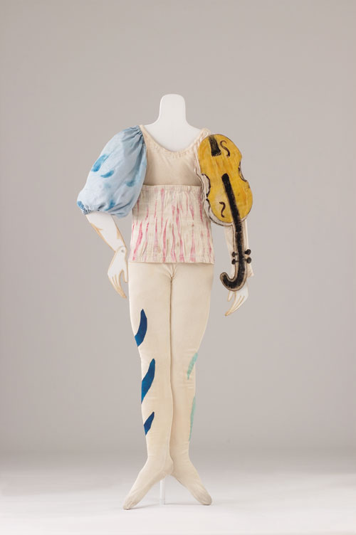Marc Chagall. Costume for a Clown (Aleko scene II), 1942. Jersey of painted cotton, cotton gabardine, with appliqué, blouse in silk taffeta, belt in cotton gabardine and tights in cotton jersey with appliqué. Private Collection ©Chagall ® SABAM Belgium 2015.