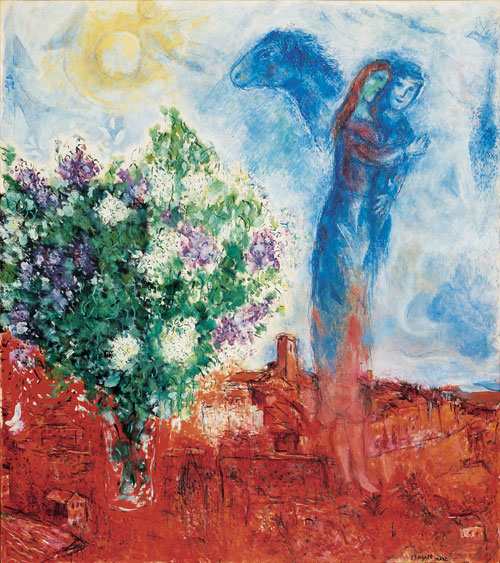Marc Chagall. Couple above Saint-Paul, 1968. Oil, tempera and sawdust on canvas. Private collection © Chagall ® SABAM Belgium 2015.