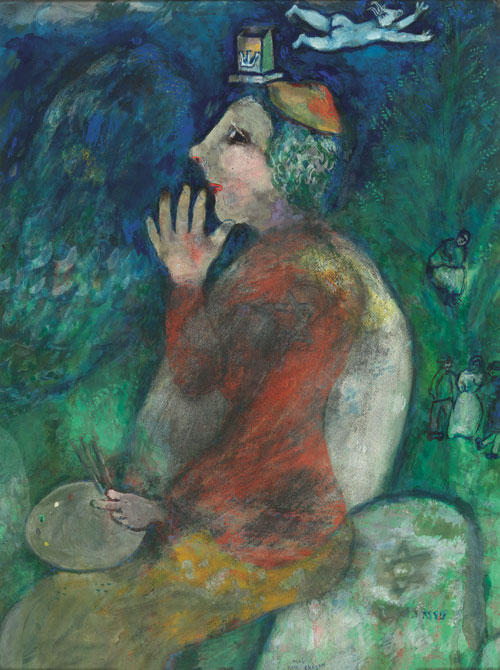 Marc Chagall. I, Marc Chagall. Self-Portrait with Tefillin, 1928. Watercolour, pastel and gouache on paper glued on cardboard. Brussels, Royal Museums of Fine Arts Belgium © RMFAB, Brussels/Chagall ® SABAM Belgium 2015. Photograph: J Geleyns/Ro scan.