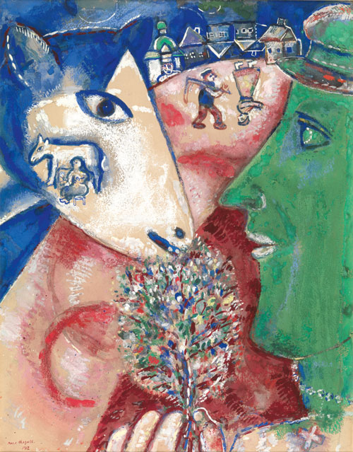 Marc Chagall. I and the Village, 1912. Pencil, watercolour and gouache on paper. Brussels, Royal Museums of Fine Arts Belgium © RMFAB/Chagall ® SABAM Belgium 2015. Photograph: J Geleyns/Ro scan.