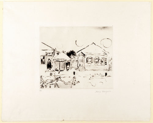 Marc Chagall. Plate from Mein Leben (My Life): The Pokrovskaja-Street in Vitebsk, 1922. Etching and dry point on Japanese paper. Paul Cassirer, Berlin, 1923. Private collection © Chagall ® SABAM Belgium 2015.