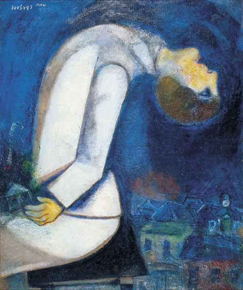 Marc Chagall. Man with his Head Thrown back, 1919. Oil on cardboard mounted on panel. Private collection © Chagall ® SABAM Belgium 2015.