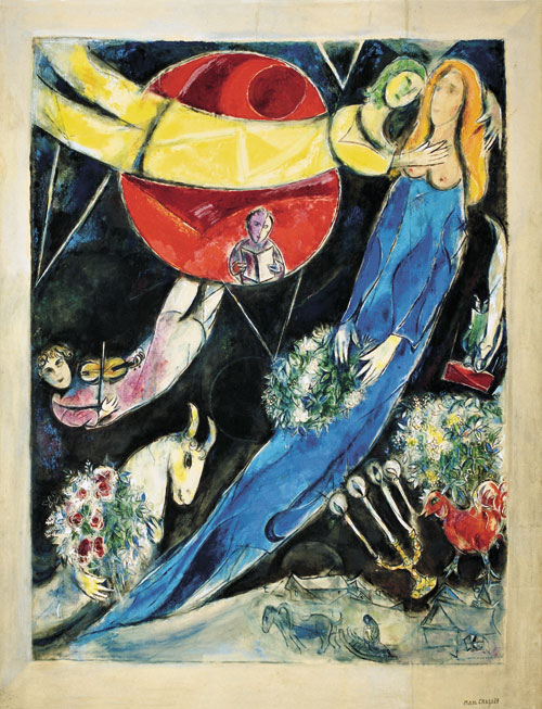 Marc Chagall. Red and Black World, 1951. Gouache, watercolour, pastel on paper, glued on canvas. Private collection © Chagall ® SABAM Belgium 2015.